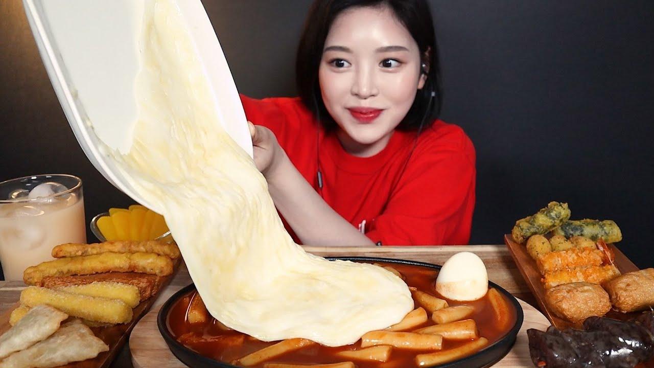 SUB)치즈 두번 추가한 신참떡볶이 먹방 ! 순대꼬치 김말이 치즈스틱 오징어튀김  만두까지 사이드파티 리얼사운드 Cheese Tteokbokki mukbang ASMR