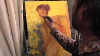 Девушка в технике импрессионизм, уроки рисования, Сахаров