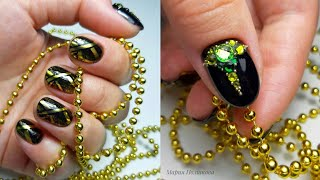 Дизайн ногтей с втиркой пигментом стемпингом Маникюр со стразами ДОРОГО БОГАТО Сама себе мастер