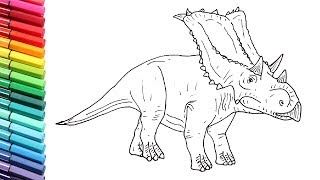 Drawing and Coloring Dinosaur The Chasmosaurus - Dinosaurs Color Pages For Children