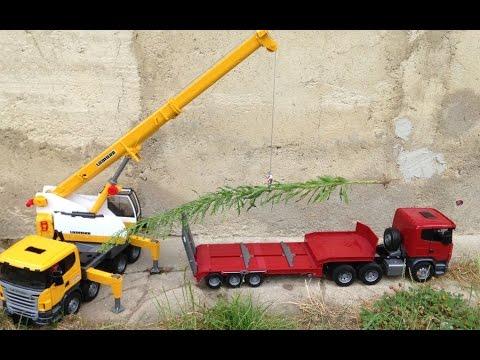 BRUDER TRUCK SCANIA Liebherr crane truck cost high tree Low loader truck