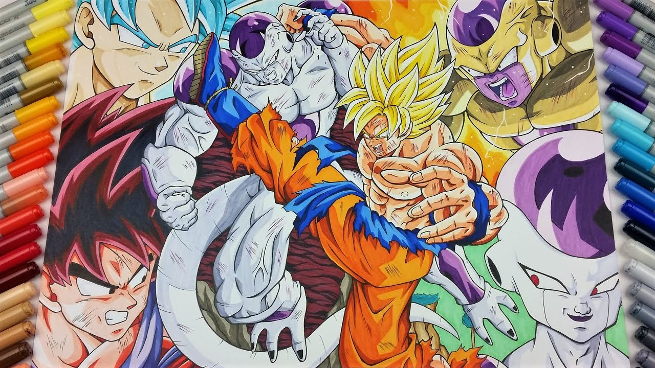 drawing all fights of goku vs frieza tolgart youtube