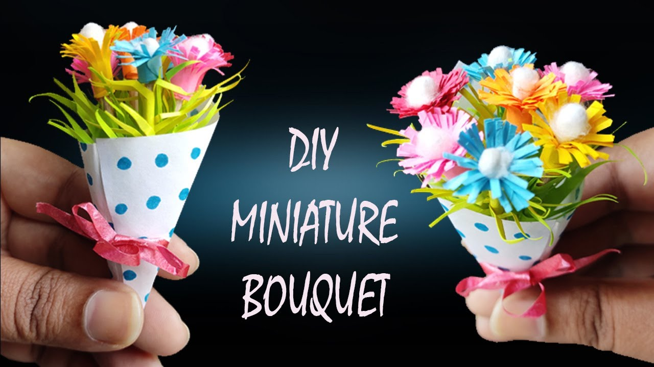 How To Make Tiny Flower Bouquet How To Make Miniature Flower Bouquet Mini Flower Tiny Paper Flower Youtube