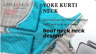 yoke kurti neck stitching tutorial Embroidery thread crafts boat neck neck design