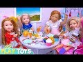 American Girl Baby Dolls Cooking Play Doh Pasta in Doll Kitchen Toy!