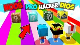 ¡NO ELIJAS EL LUCKY BLOCK EQUIVOCADO! 😱 NOOB vs PRO vs HACKER vs DIOS (Minecraft Mods)
