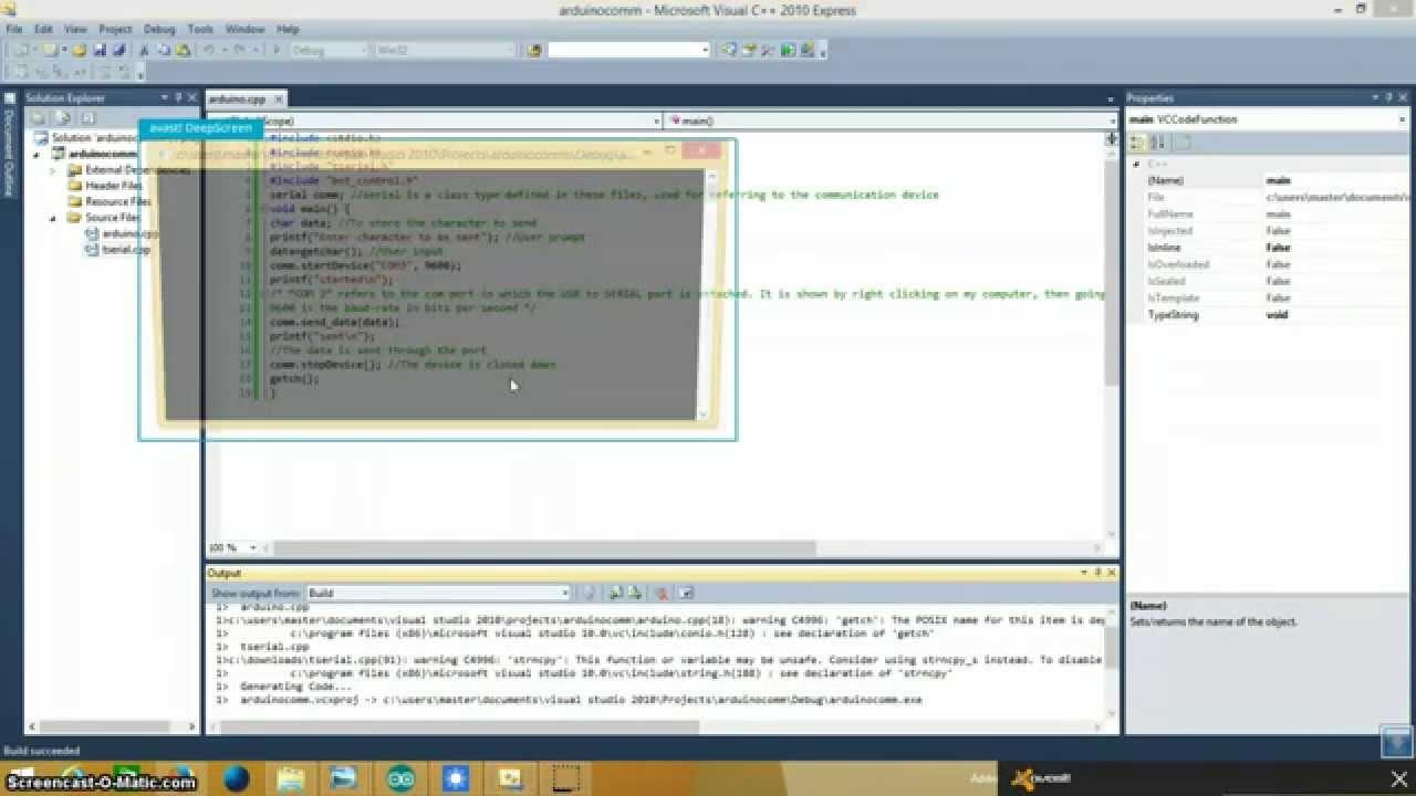 Serial Communication between visual c++( or visual studio) and arduino