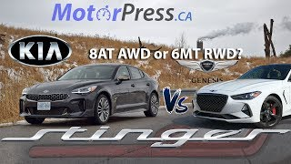 2019 KIA Stinger GT-Line 2.0T AWD Review and Dynamic Comparison Vs Genesis G70 Sport 2.0T 6MT RWD