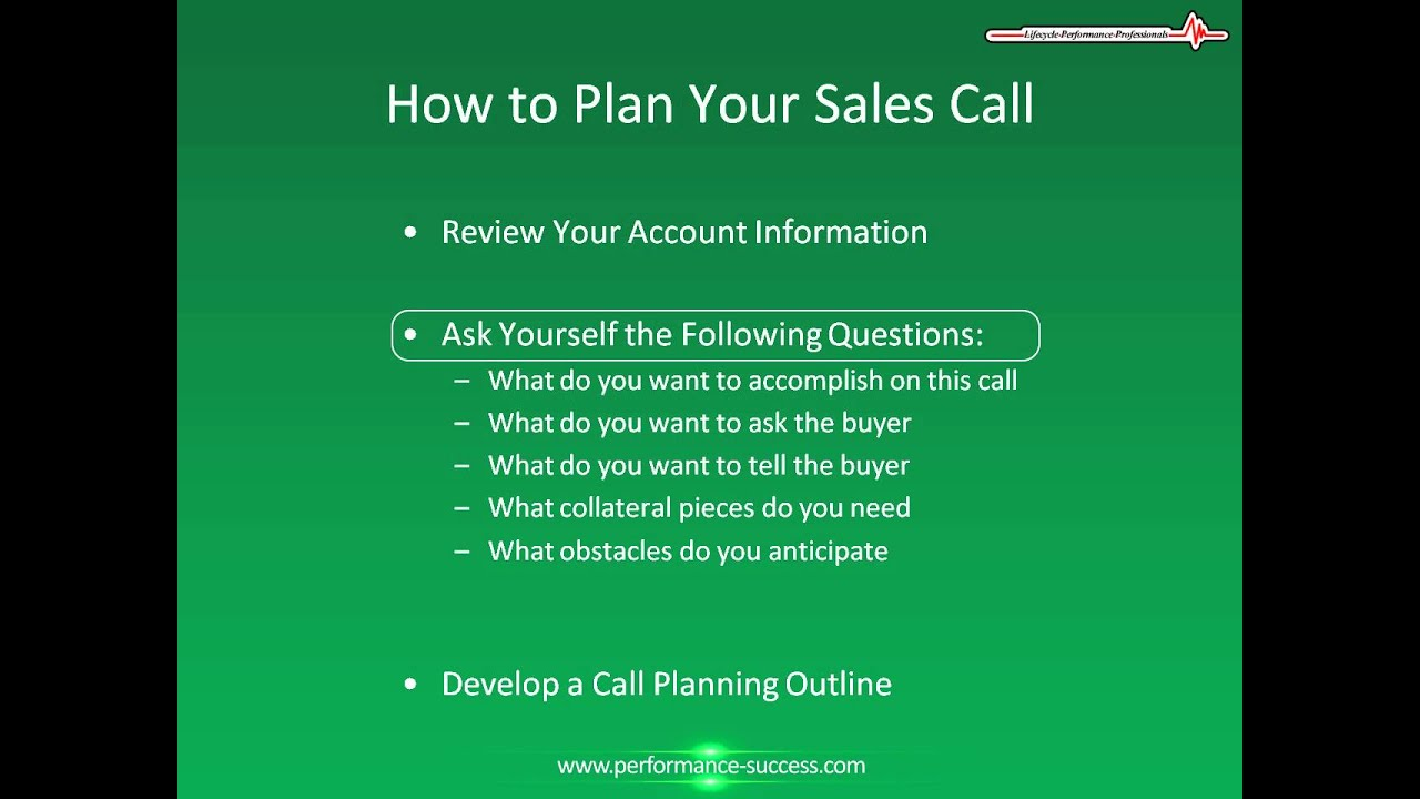 planning the sales call is a Learn the elements of an effective sales plan share flip pin share email even economic ups and downs can call for an adjustment to your sales plan.