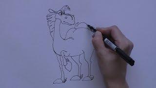 Рисуем коня Юлия из мультфильма Три богатыря
