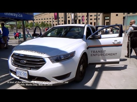 "A tour inside a Mississauga Transit Enforcement Ford Police Interceptor --""305"" car"