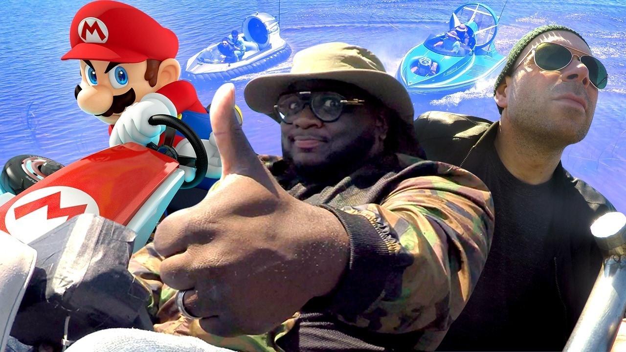 Playing Mario Kart 8 Deluxe on a HOVERCRAFT! (ft. Rapper Mega Ran) – XGC