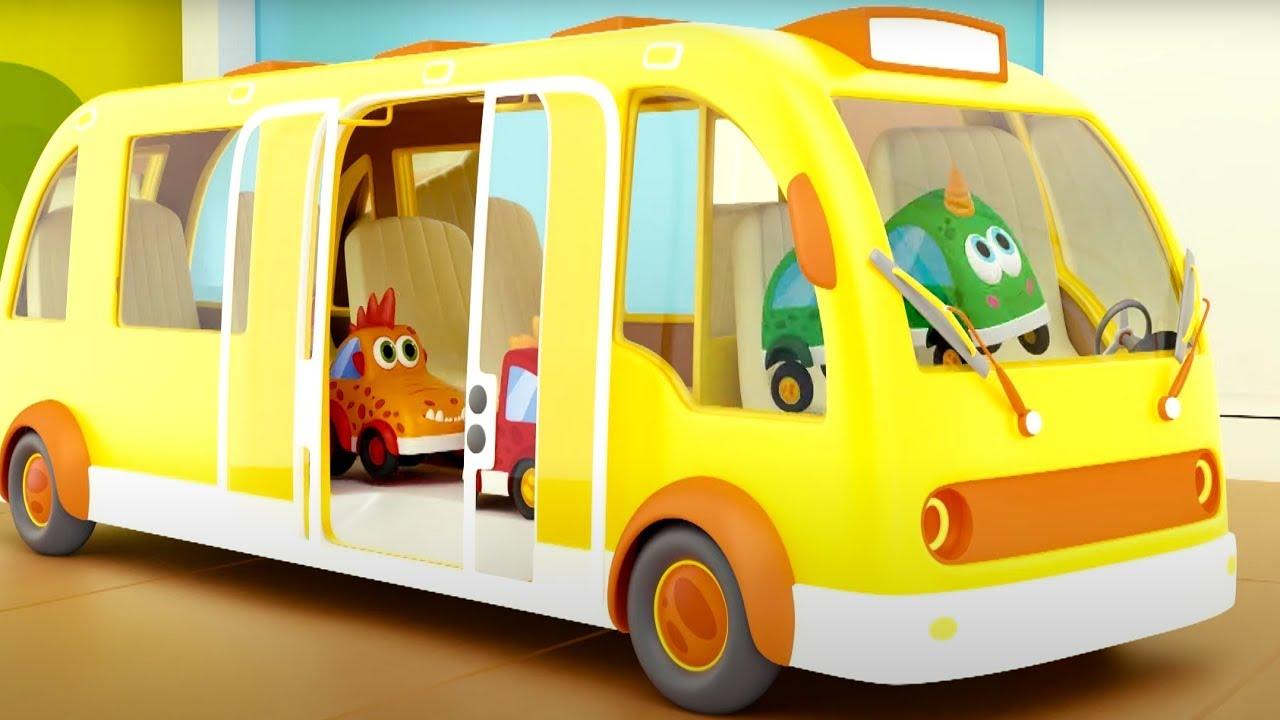 Колеса у автобуса - Песенка - Поем с машинками Мокас