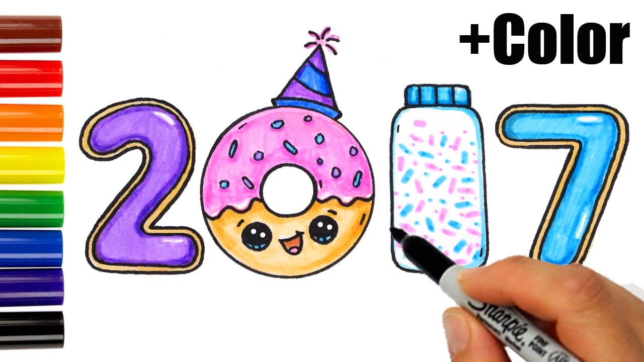 how to draw color 2017 as cookies donut sprinkles happy new year youtube