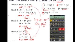 Calculating pH, pOH, [H+], [H3O+], [OH-] of Acids and Bases - Practice