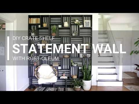 DIY Crate Shelf Statement Wall