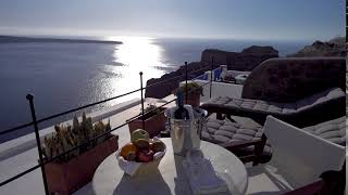 Relaxing with the best sunset view at Esperas Santorini Hotel