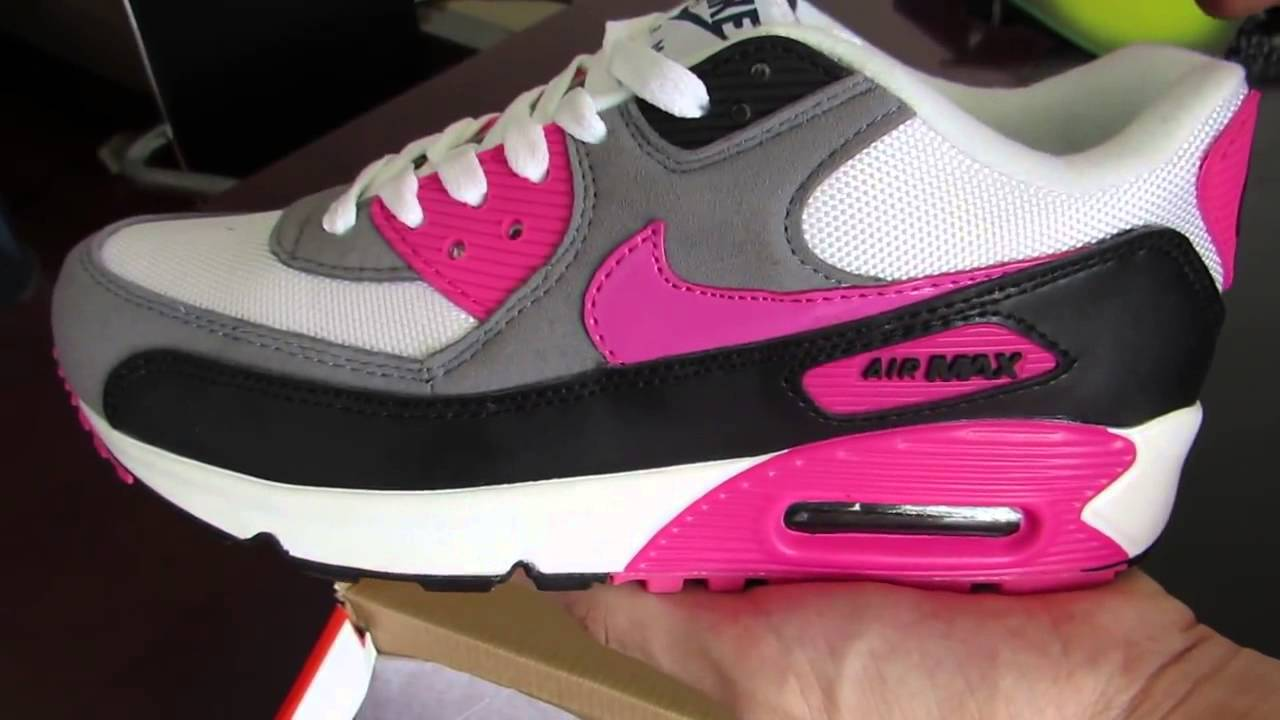 Separare scomparire rivelazione  Nike Air Max 90 Women Essential White Pink Foil Black Trainers - YouTube