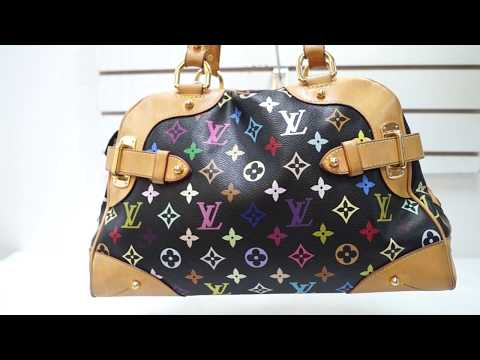 E4086 LOUIS VUITTON Black Monogram Multicolore Claudia Bag 1