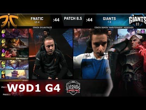 Fnatic vs Giants | Week 9 Day 1 of S8 EU LCS Spring 2018 | FNC vs GIA W9D1 G4