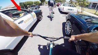 RIDING BMX IN COMPTON HOOD CRIME ZONES *COPS*