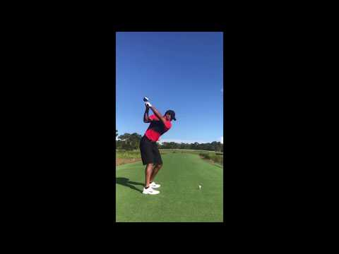 Tiger Woods Comeback Driver Swing Slowmo - After Surgery 10.15.2017