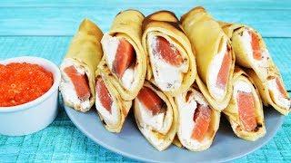 Закусочные блины с семгой и сливочным сыром -  сытные и вкусные