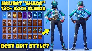 "NEW HELMET ""SHADE"" SKIN Showcased With 130+ BACK BLINGS! Fortnite Battle Royale (BLUE SHADE STYLE)"