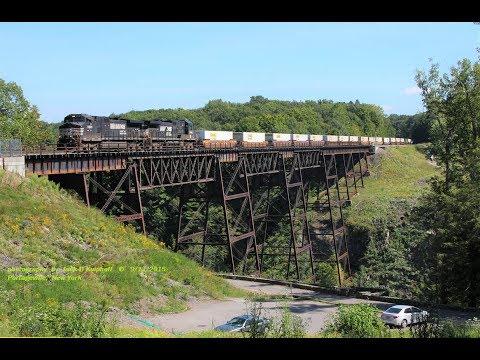 ex-ERIE's Portageville Trestle. Listen & watch the stress on this old 1875 bridge