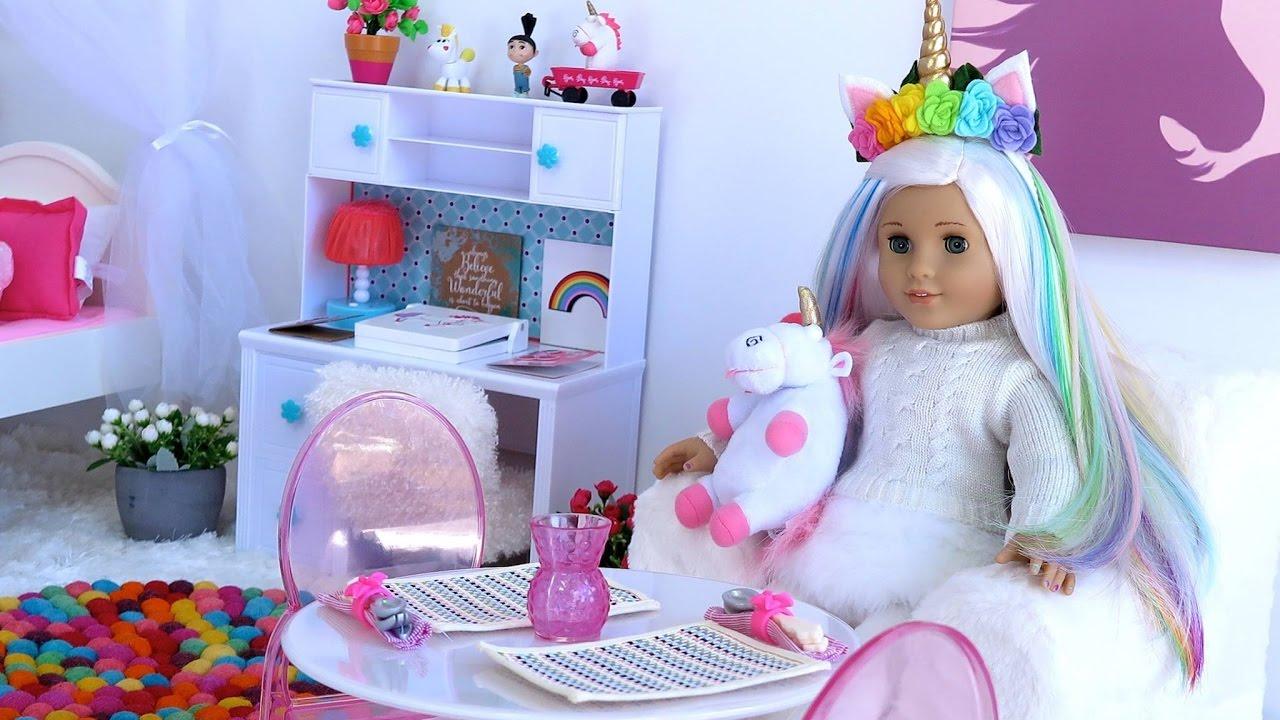 american girl doll unicorn bedroom morning routine