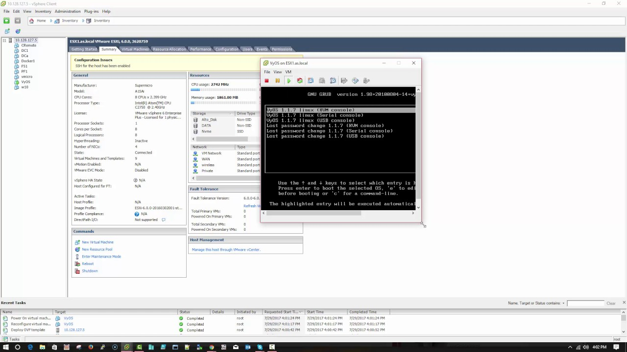 Install VyOS opensource router in vmware esxi