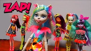 Monster High Silvi Timberwolf Electrified Dolls Complete Collection Unboxing Toy Review