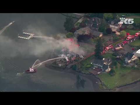 Massive fire destroys waterfront Gig Harbor home