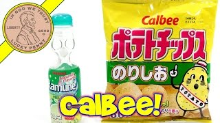 Calbee Nori-shio Potato Chips & Ramune Melon Soda - Japanese Snacks!