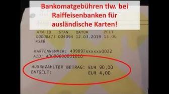 Bankomatgebühr in Österreich - Gebühren bei Bargeldbehebung bei Raiffeisenbanken