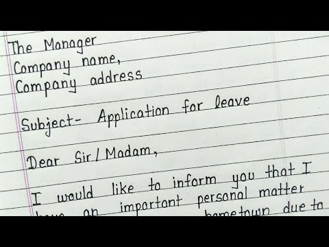 Write a leave application for office || How to write leave application for office in english
