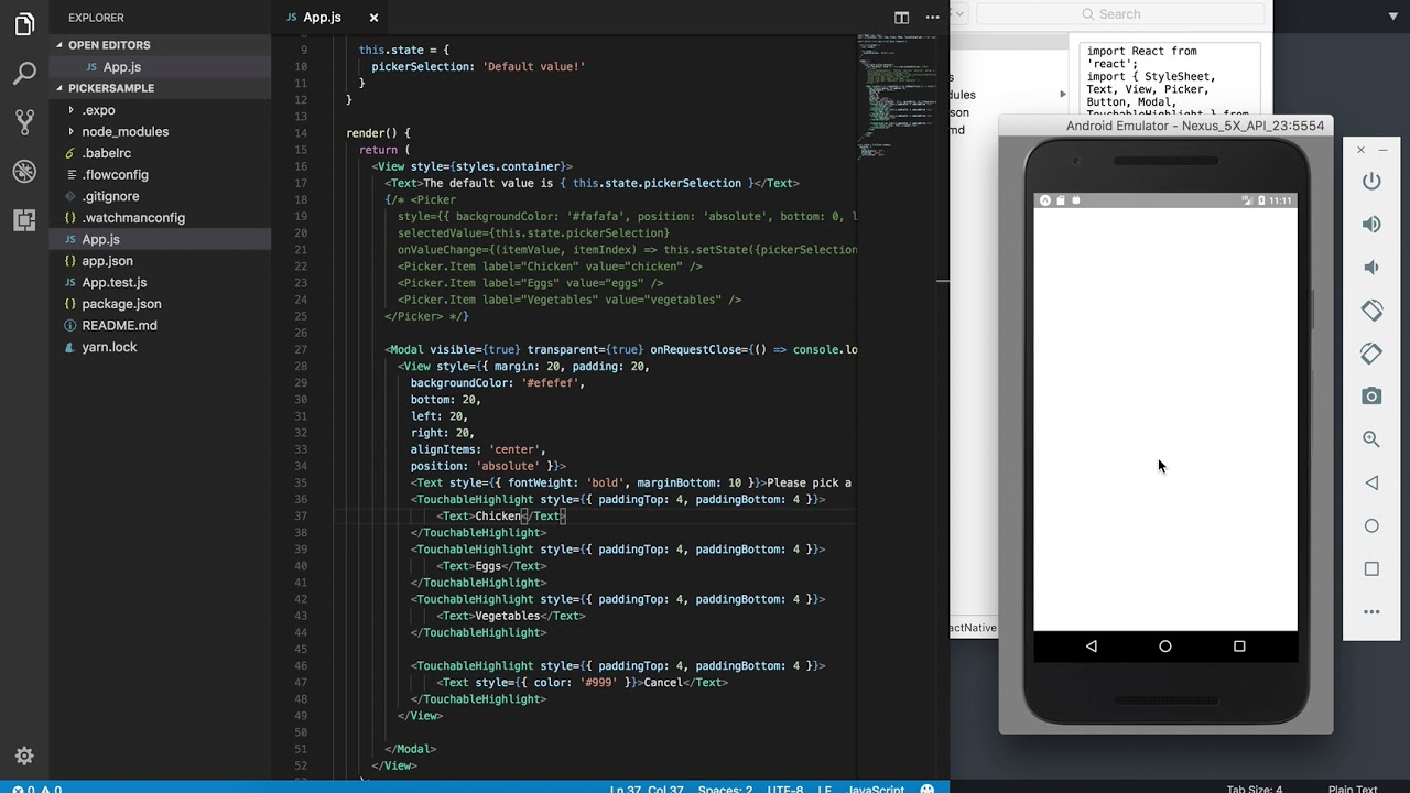 Using the React Native Picker, and making your own