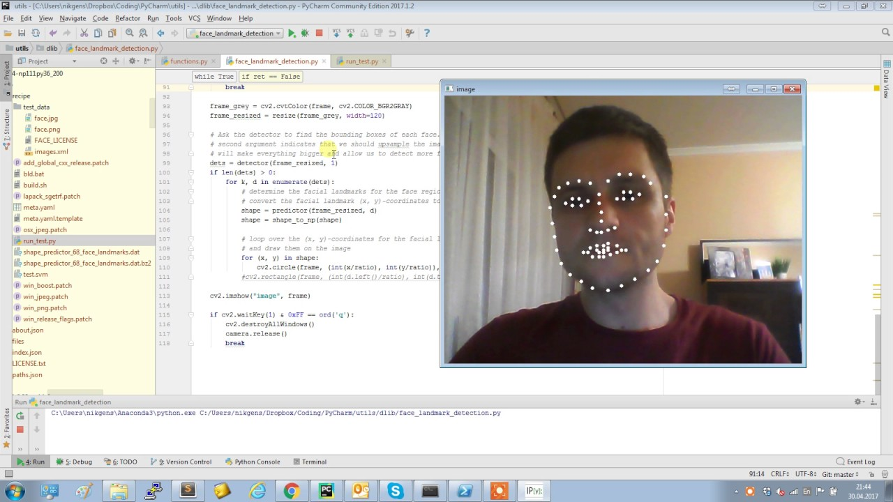 Real-time facial landmark detection with Python, OpenCV and dlib
