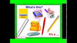 ESL kids Lessons,English Vocabulary Course-School Stationery school bag   pencil  ruler  pen