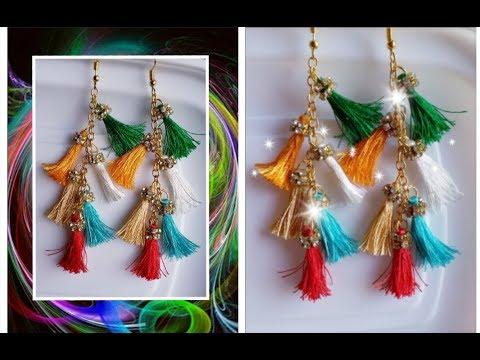 Latest tassel earrings diy// how to make tassel earrings in 5 minutes
