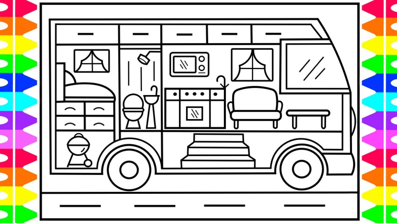 How to Draw a Toy Camper for Kids 💖💚💙Camper Drawing for Kids  Camper  Coloring Pages for Kids