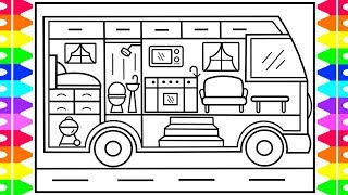 How to Draw a Toy Camper for Kids 💖💚💙Camper Drawing for Kids | Camper Coloring Pages for Kids