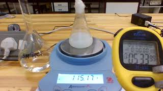 Marble chips react with 50ml of a 5M HCl solution