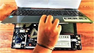 How to Disassemble a Laptop Acer Aspire E15 Series E5 Upgrade RAM HDD Cleaning Cooling Fan