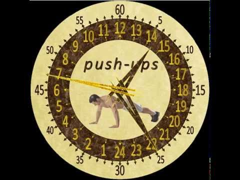 Часы в 24ти часовом циферблате. Отжимания. 24 Clock shows time on a 24-hour dial. Push-ups