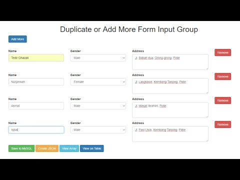 Duplicate or Add More Form Input Group with jQuery and PHP