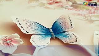 """3D фотообои """"Цветочное изобилие с бабочками"""""""