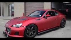Subaru BRZ wrapped in satin red chrome