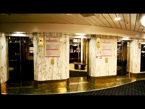 Tour of the amazing 1989 DAN Elevator traction elevators @ Cruiseferry M/S Cinderella (Viking Line)