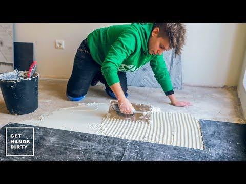 Ceramic Tile Floor Installation // Tiny Apartment Build - Ep.3